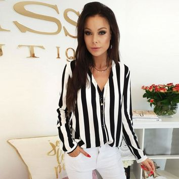 Multicolor V Cut Neck Striped Shirt Casual Long Sleeve Button Placket Blouse Women Autumn Elegant Workwear Tops #EP