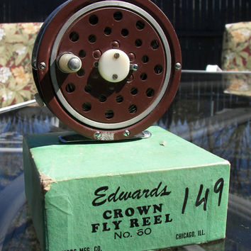 Antique Vintage Fly Fishing Reel Brown Edwards Crown No. 60 Chicago Illinois Man Cave Fishing Lodge New York