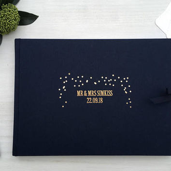 Navy Polaroid Wedding Guest Book, Personalised Wedding Guestbook, Wedding Photo Album, Gold Foiled Wedding Guestbook