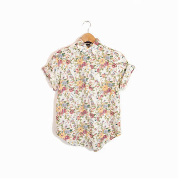 Vintage 90s Floral Boy Shirt in White & Rose - women's small