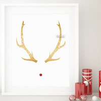 One year anniversary sale: rudolph red nose print, gold antlers printable, Christmas printable. Black friday sale, cyber monday sale -gp230