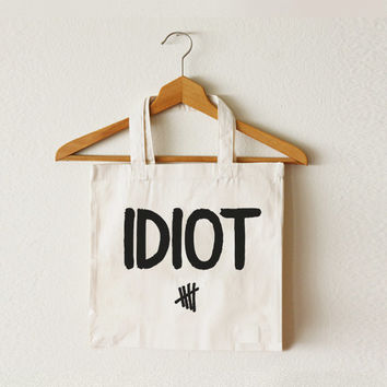 CCT-TTB-028 IDIOT - Michael Clifford Flannel Idiot - 5SOS - 5 Seconds of Summer font Cotton Natural Canvas