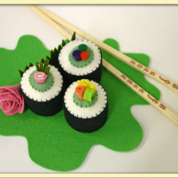 Wool Felt Play Food Sushi Rolls - Waldorf Inspired Accessory for Imaginative Play