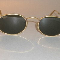VINTAGE B&L RAY-BAN W0976 G15 GOLD-PLATED ARISTA WIRE OVAL AVIATOR SUNGLASSES
