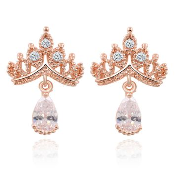 Zircon earrings crown earrings luxury earrings