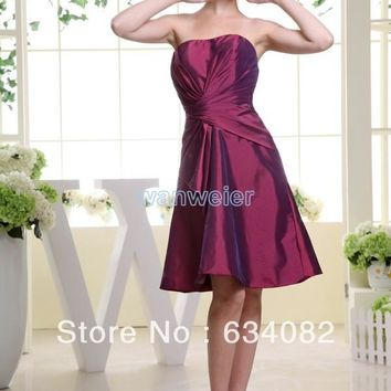 free shipping brides maid dresses 2016 taffeta plus size fuschia dress short mini dress modest unique classy Bridesmaid Dresses