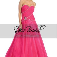 A-Line Strapless Floor-Length Chiffon Beading Prom Dress SAL0448