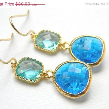 ON SALE - Gold Bridesmaid Earrings - Aquamarine and Capri Blue Earrings - Bohemian Boho Chic Earrings - Colorblock Earrings - Ocean Color Ea