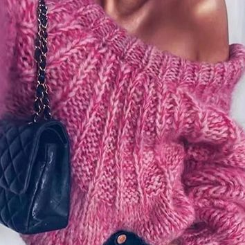 New Rose Carmine Patchwork Tie Back Ribbons Round Neck Cute Fashion Pullover Sweater
