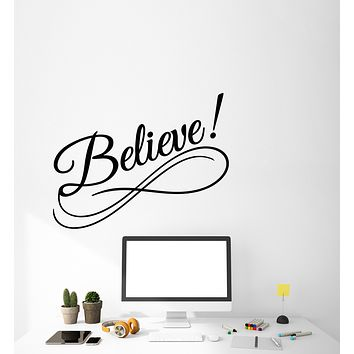 Vinyl Wall Decal Word Quote Lettering Believe Sign Of Infinity Stickers (3562ig)