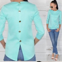 Scoop 3/4 Sleeves Back Button Pure Color Chiffon Blouse