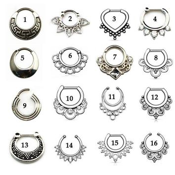 ac DCCKO2Q Tribal Fan Real&Fake Piercing Septum Clicker Flower Petals With CZ Gem Nose Rings Jewelry