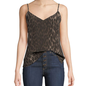 L'Agence Jane Animal-Print V-Neck Tank