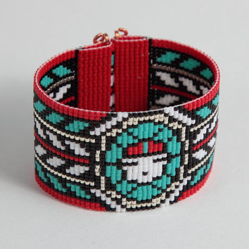 Native American Style Zuni Sun God Bead Loom Wide Cuff Bracelet - Boho Jewelry, - Southwestern Beaded - Tribal - Turquoise Red Black Silver