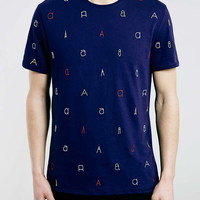 Navy Embroided T-Shirt