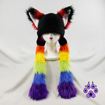 RAINBOW Fur Fox RAVE Hat fleece anime cosplay SKI ear by pawstar