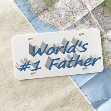World's #1 Father 3D License Plate, Sea Blue License Plate
