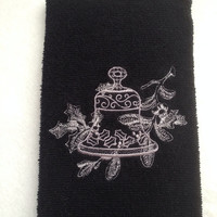 Black Chrismas Towel with Silver Bell And Holly