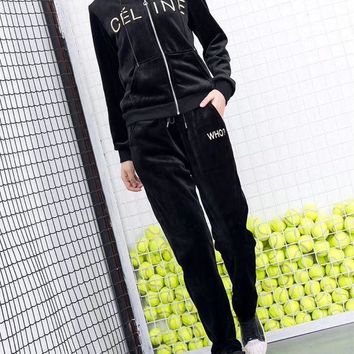 DCCK6HW Celine' Women Casual Fashion Velvet Letter Embroidery Hooded Long Sleeve  Trousers Set Two-Piece Sportswear