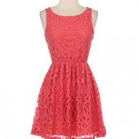 Trendy Clothing, Fashion Shoes, Women Accessories | Grace Lace Coral Dress  | LoveShoppingMiami.com