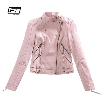 Autumn Womtne Faux Leather Jacket Short Design Soft Pu Slim Pink Jacket Punk Fashion Womens Biker Jacket Motorcycle Clothing