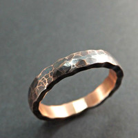 hammered copper ring wavy edge forged copper ring hammered ring rustic wedding ring steampunk ring