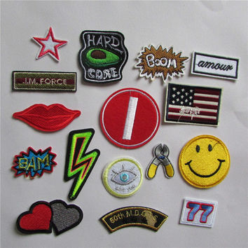 hot sell Fashion cute kind 16 different mixture patches hot melt adhesive applique embroidery patch DIY accessory 1pcs sell