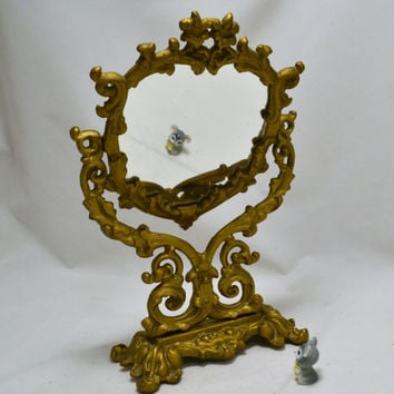 Vanity Dresser Mirror - Gold Standing Cast Iron Pivot Mirror - Hollywood Glam - JM5 Iron Art - Vintage 1950s 60s