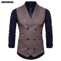 Seenimoe 2018 Mens Stripe Plaid Formal Blazer Vests Men Double Breasted V-neck M-4XL Male British Style Casual Dress Suit Vests