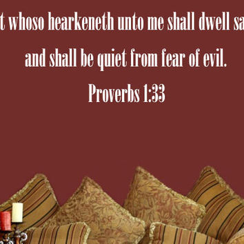 Bible Verse Wall Decal, Proverbs 1:33, Scripture Wall Decal