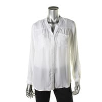 Wyatt Womens Sheer Cuff Sleeves Button-Down Top