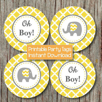 Oh Boy! Printable Cupcake Toppers Elephant Baby Shower Yellow Grey Quatrefoil diy Tags Stickers Labels INSTANT DOWNLOAD pdf Printable 149