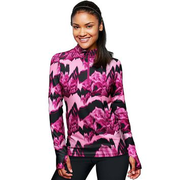 Duofold by Champion THERMatrix™ Women's 1/4 Zip Printed Pullover Style: KDC3QP-Marzipan Pink/Berry Delight Washy Glitch M