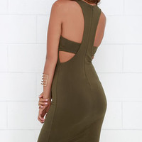 What I Got Olive Green Bodycon Dress