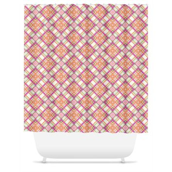 Pretty In Pink Plaid Shower Curtain