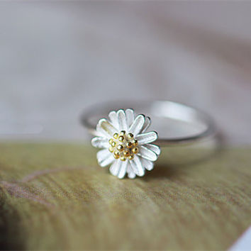 925 Sterling Silver Daisy Flower Spring Silver Ring