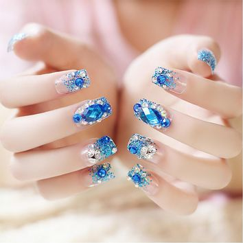 24pcs/Set Pretty False Nail Tips Square Head Full Cover Blue Rhinestone Glitter Fake Nails Art with Glue