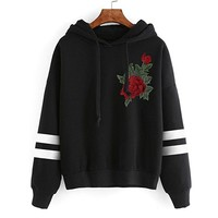 Sweatshirt Rose Embroidered Blouse Women Long Sleeve Shirts Casual Tops