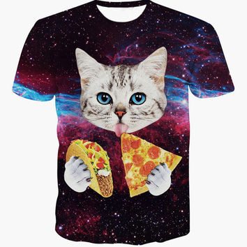 SPACE CAT EATING PIZZA AND TACOS