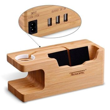 ICIK4S2 Tendak Apple Watch Charging Stand - with 3 USB Port Bamboo Wood USB Charging Station for 38mm and 42mm Apple Watch & iPhone 6 6 plus 5S 5 7 7 plus and Other Smartphone