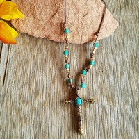 Beaded Cord Cross Necklace