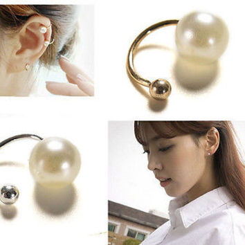 Fashion Silver Gold Pearl Wrap Ear Cuff Earring Cartilage Clip Girl Jewelry