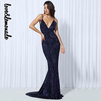 Love&Lemonade Elastic Sequin V Collar Exposed Back Maxi Dress NAVY/SILVER/PINK/BLACK/RED/Champagne LM0045