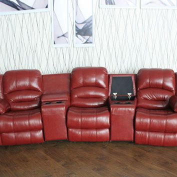 Luxury Recliner Sofa,  Genuine Leather Cinema theater sofa chaise bed couch