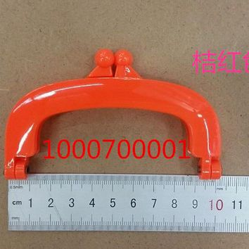 Free Shipping-6PCs Orange Bead Purse Bag Plastic Frame Kiss Clasp Lock Handle 10cm DIY Handmade Bag Parts Accessories J2554