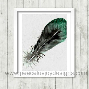 Printable Art.  Feather. Tribal Chic. Light As A Feather. 8x10. Instant Download.
