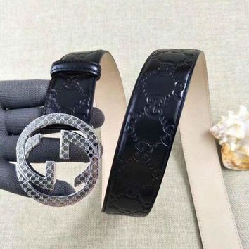 One-nice™ Discount New Men GG Buckle Gucci Leather Belt Size EU 100-110cm Free Shipping