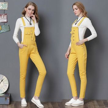 2019 Fashion Candy Color Women Jumpsuit Slim Strap Rompers lady Casual Denim Overalls Pockets Jeans Pants Overalls Spring