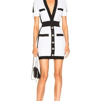 Black And White Button Front Bandage Dress