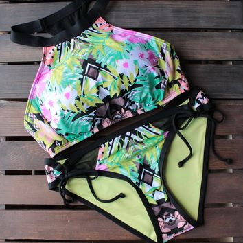 final sale - bikini lab - mix & match it takes hue high neck bikini (top only)